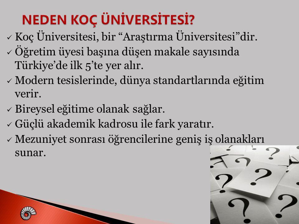 """Koç Üniversitesi, bir """"Araştırma Üniversitesi""""dir. Öğretim üyesi başına düşen makale sayısında Türkiye'de ilk 5'te yer alır. Modern tesislerinde, düny"""