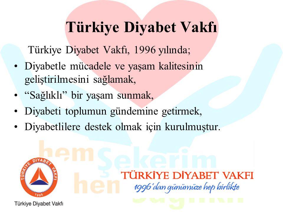 """Türkiye Diyabet Vakfı Türkiye Diyabet Vakfı, 1996 yılında; Diyabetle mücadele ve yaşam kalitesinin geliştirilmesini sağlamak, """"Sağlıklı"""" bir yaşam sun"""
