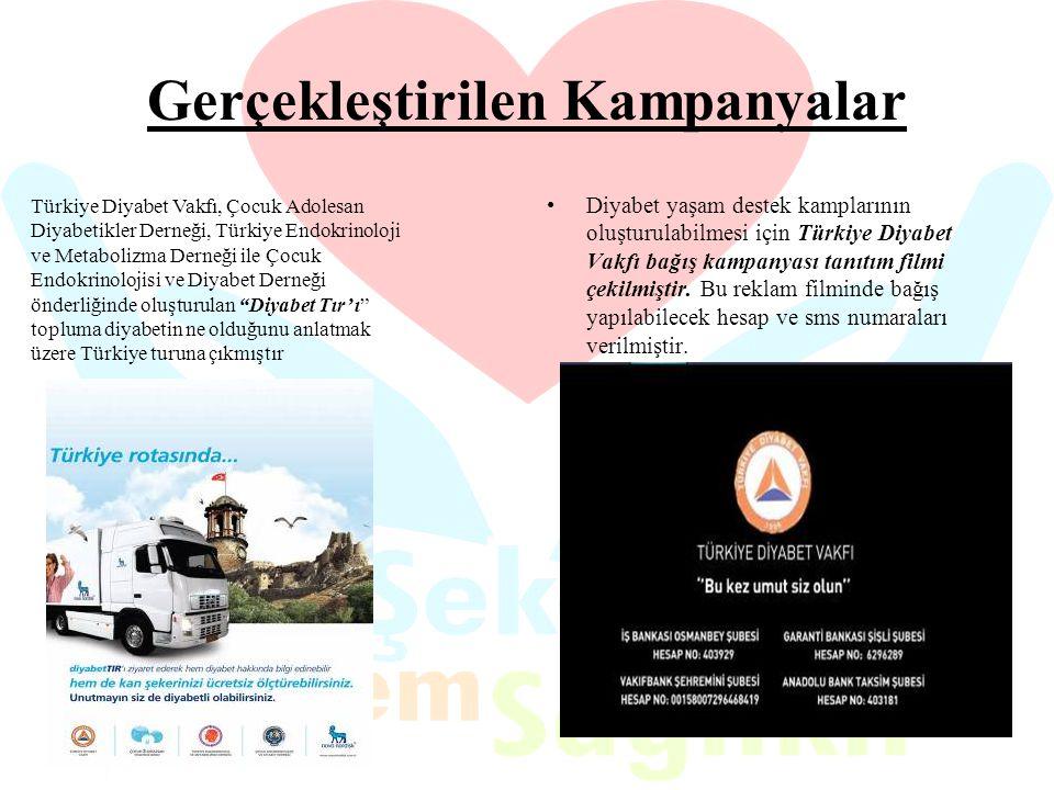 Gerçekleştirilen Kampanyalar Diyabet yaşam destek kamplarının oluşturulabilmesi için Türkiye Diyabet Vakfı bağış kampanyası tanıtım filmi çekilmiştir.