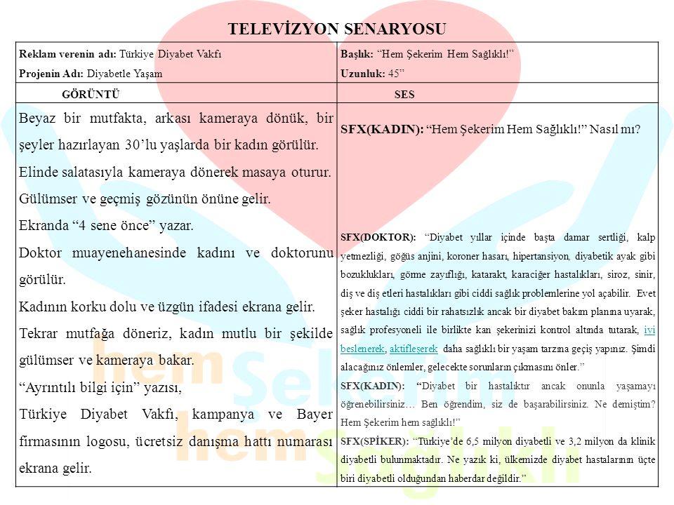 """TELEVİZYON SENARYOSU Reklam verenin adı: Türkiye Diyabet Vakfı Projenin Adı: Diyabetle Yaşam Başlık: """"Hem Şekerim Hem Sağlıklı!"""" Uzunluk: 45"""" GÖRÜNTÜ"""