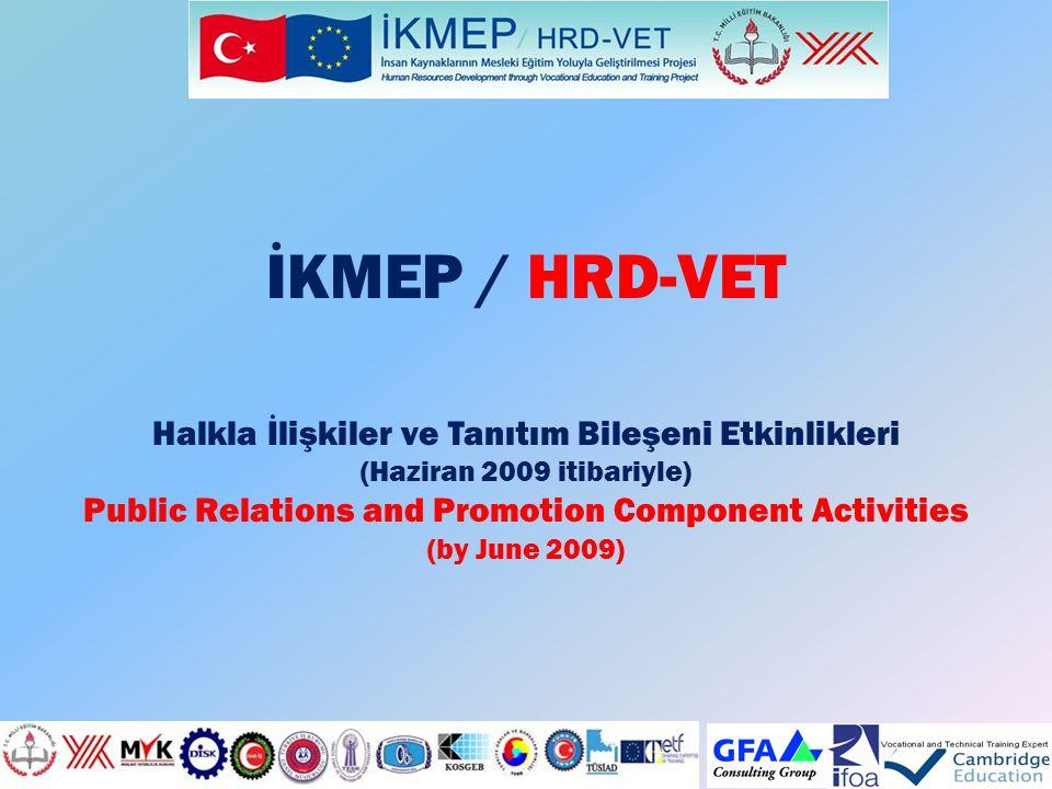 İKMEP / HRD-VET Halkla İlişkiler ve Tanıtım Bileşeni Etkinlikleri (Haziran 2009 itibariyle) Public Relations and Promotion Component Activities (by Ju