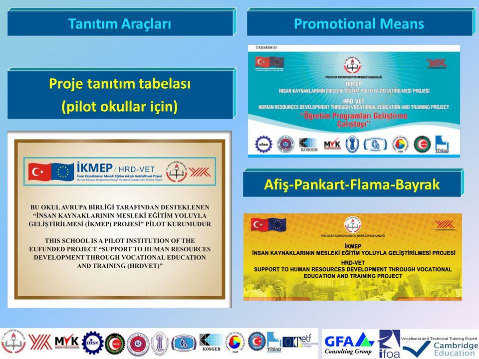 Tanıtım AraçlarıPromotional Means Afiş-Pankart-Flama-Bayrak Proje tanıtım tabelası (pilot okullar için)