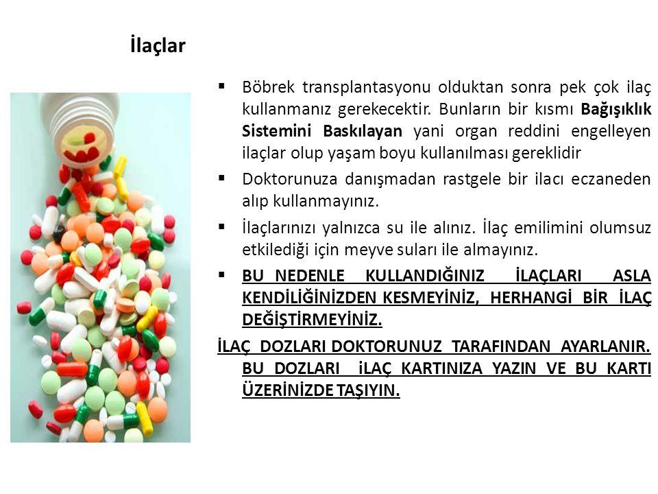 İlaçlar  Böbrek transplantasyonu olduktan sonra pek çok ilaç kullanmanız gerekecektir. Bunların bir kısmı Bağışıklık Sistemini Baskılayan yani organ