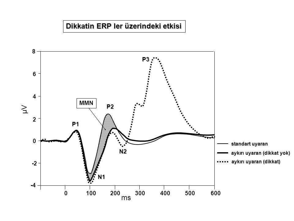 0 -2 -4 2 4 6 8 1002000300400500600 µV ms MMN Dikkatin ERP ler üzerindeki etkisi aykırı uyaran (dikkat yok) standart uyaran P1 N1 P2 aykırı uyaran (dikkat) P3N2