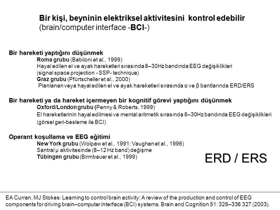 Bir hareketi yaptığını düşünmek Roma grubu (Babiloni et al., 1999) Hayal edilen el ve ayak hareketleri sırasında 8–30Hz bandında EEG değişiklikleri (signal space projection - SSP- technique) Graz grubu (Pfürtscheller et al., 2000) Planlanan veya hayal edilen el ve ayak hareketleri sırasında α ve β bantlarında ERD/ERS Bir hareketi ya da hareket içermeyen bir kognitif görevi yaptığını düşünmek Oxford/London grubu (Penny & Roberts, 1999) El hareketlerinin hayal edilmesi ve mental aritmetik sırasında 8–30Hz bandında EEG değişiklikleri (görsel geri-besleme ile BCI) Operant koşullama ve EEG eğitimi New York grubu (Wolpaw et al., 1991; Vaughan et al., 1996) Santral µ aktivitesinde (8–12 Hz band) değişme Tübingen grubu (Birmbauer et al., 1999) Bir kişi, beyninin elektriksel aktivitesini kontrol edebilir BCI- (brain/computer interface -BCI-) EA Curran, MJ Stokes: Learning to control brain activity: A review of the production and control of EEG components for driving brain–computer interface (BCI) systems.