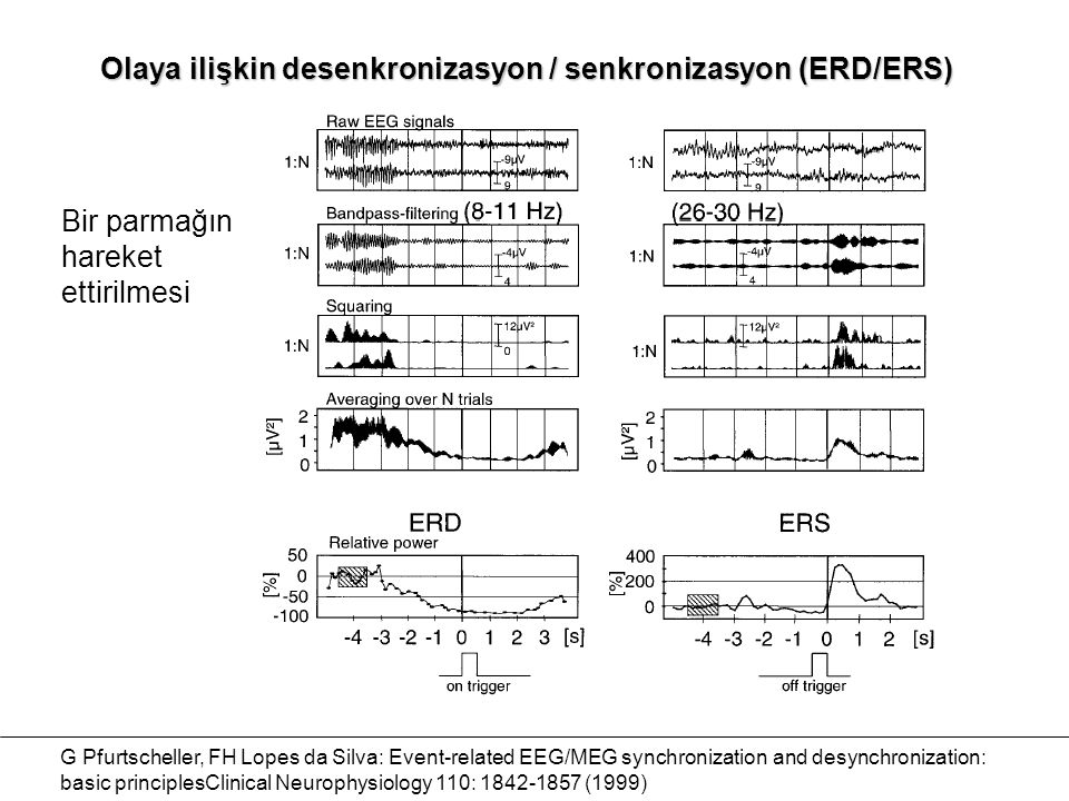 Olaya ilişkin desenkronizasyon / senkronizasyon (ERD/ERS) G Pfurtscheller, FH Lopes da Silva: Event-related EEG/MEG synchronization and desynchronizat