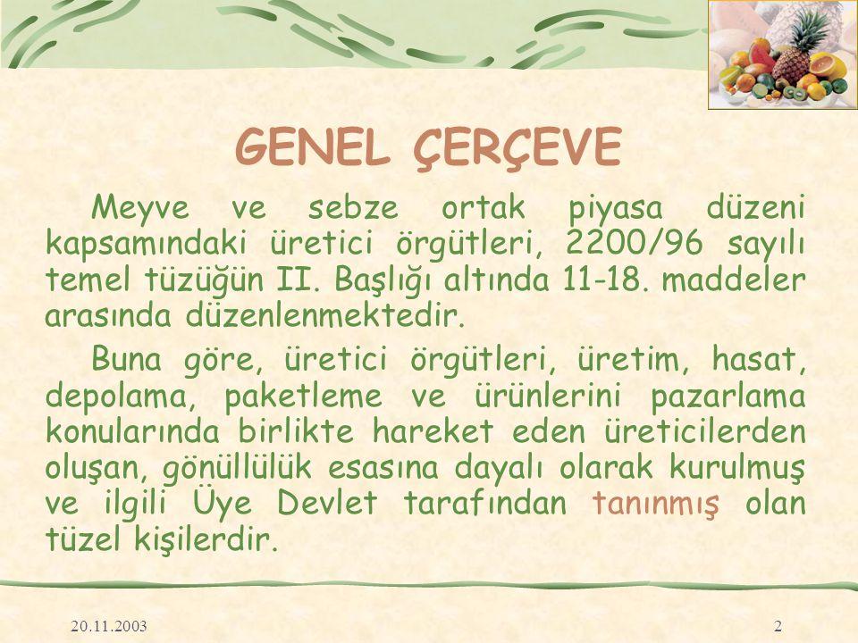 20.11.20032 GENEL ÇERÇEVE Meyve ve sebze ortak piyasa düzeni kapsamındaki üretici örgütleri, 2200/96 sayılı temel tüzüğün II.