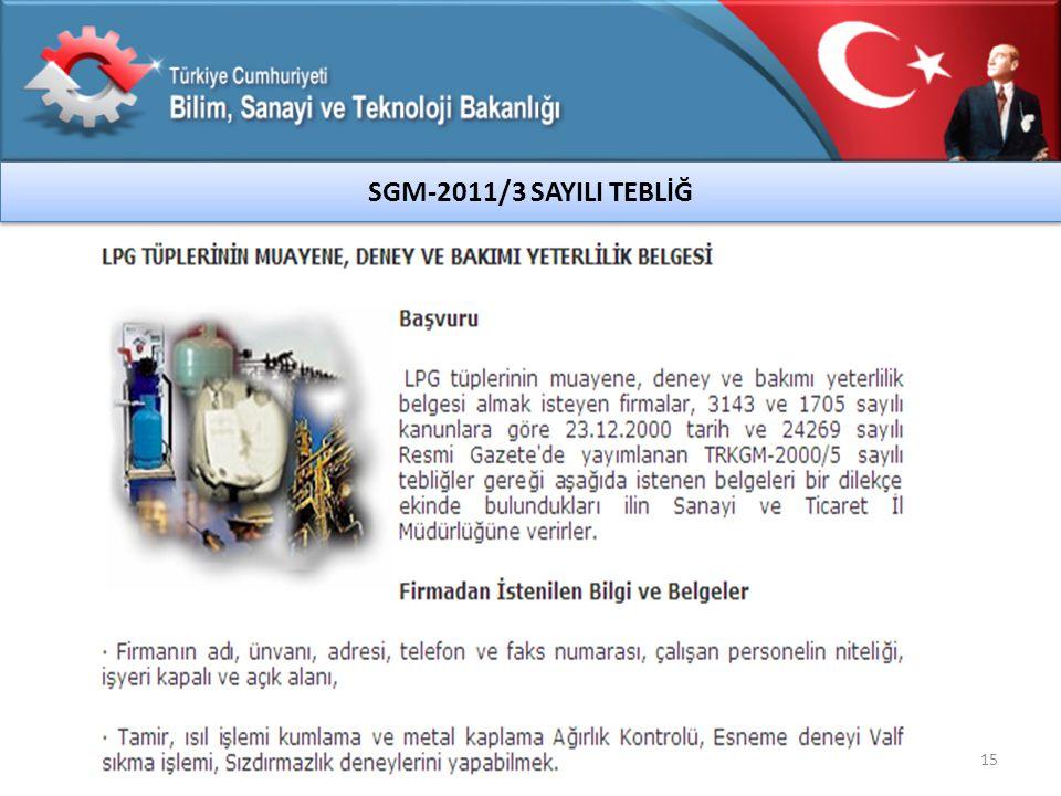 15 SGM-2011/3 SAYILI TEBLİĞ