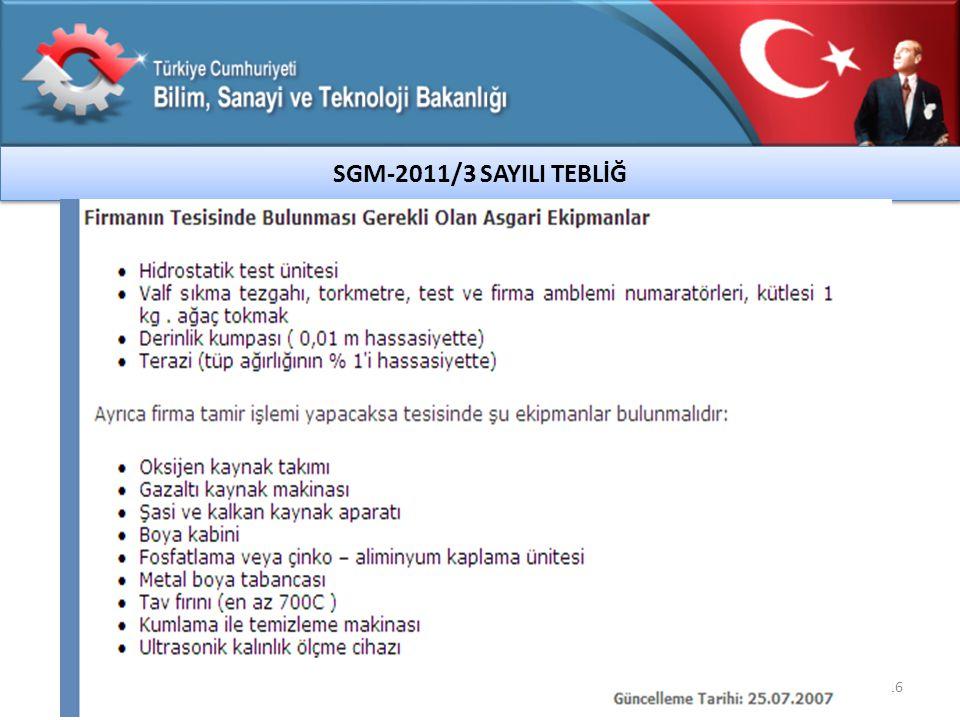 16 SGM-2011/3 SAYILI TEBLİĞ