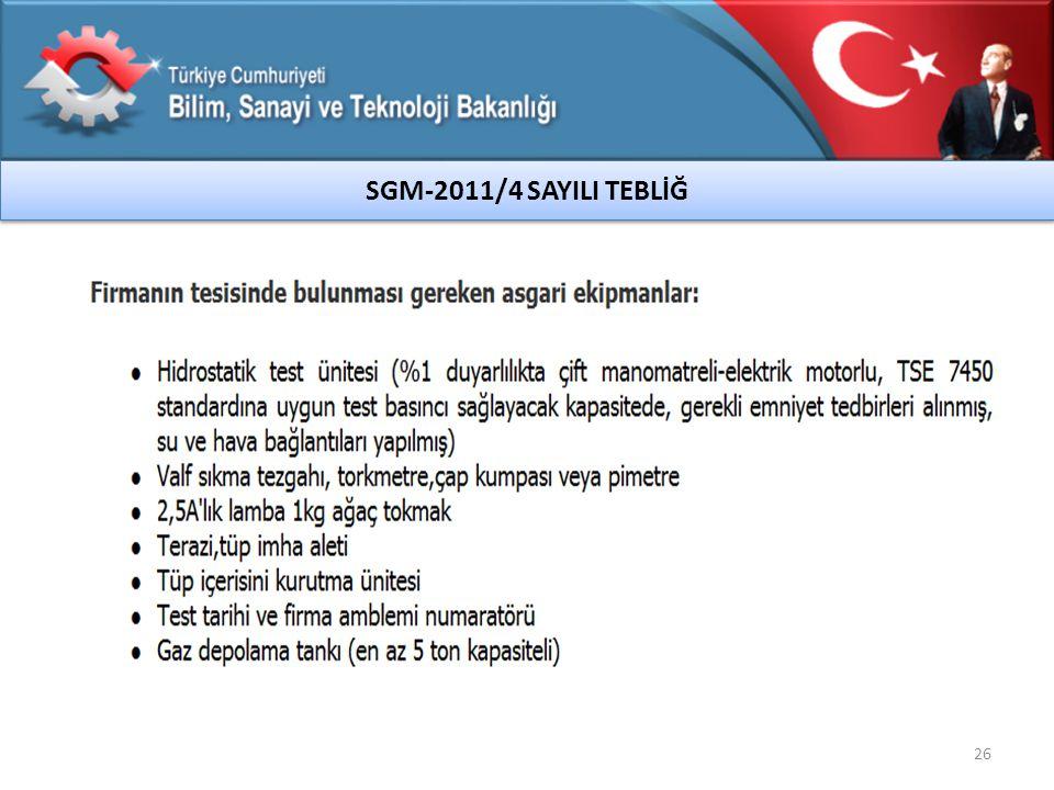 26 SGM-2011/4 SAYILI TEBLİĞ