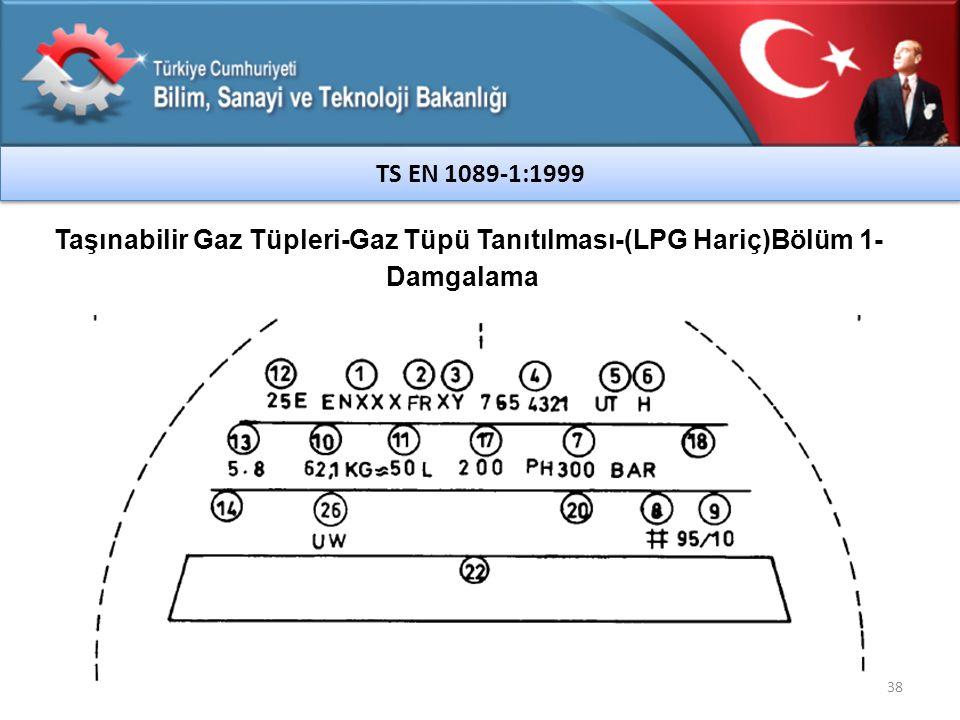 38 TS EN 1089-1:1999 Taşınabilir Gaz Tüpleri-Gaz Tüpü Tanıtılması-(LPG Hariç)Bölüm 1- Damgalama