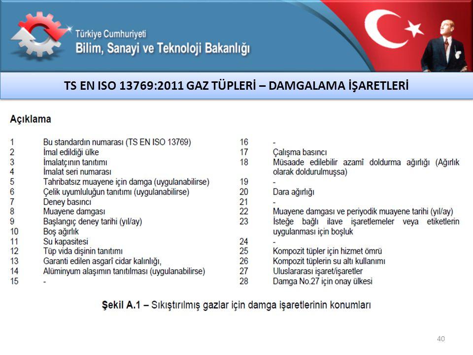40 TS EN ISO 13769:2011 GAZ TÜPLERİ – DAMGALAMA İŞARETLERİ