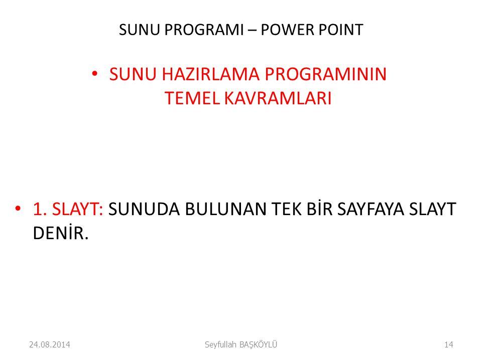 SUNU PROGRAMI – POWER POINT SUNU HAZIRLAMA PROGRAMININ TEMEL KAVRAMLARI 1. SLAYT: SUNUDA BULUNAN TEK BİR SAYFAYA SLAYT DENİR. 24.08.2014Seyfullah BAŞK