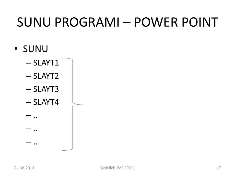 SUNU PROGRAMI – POWER POINT SUNU – SLAYT1 – SLAYT2 – SLAYT3 – SLAYT4 –.. 24.08.2014Seyfullah BAŞKÖYLÜ17