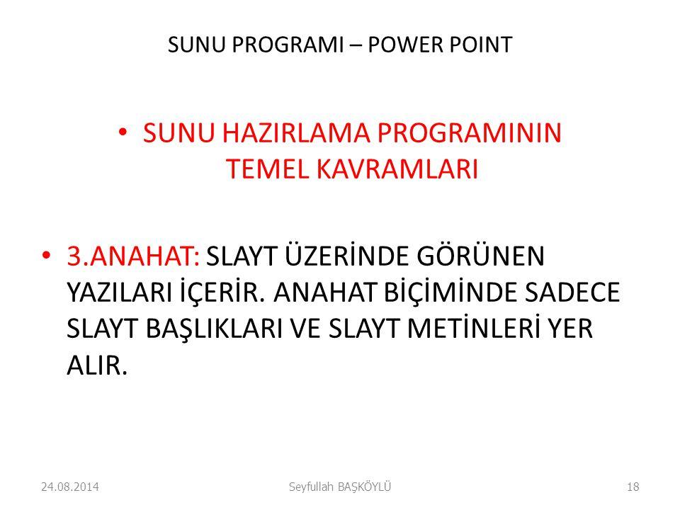 SUNU PROGRAMI – POWER POINT SUNU HAZIRLAMA PROGRAMININ TEMEL KAVRAMLARI 3.ANAHAT: SLAYT ÜZERİNDE GÖRÜNEN YAZILARI İÇERİR.