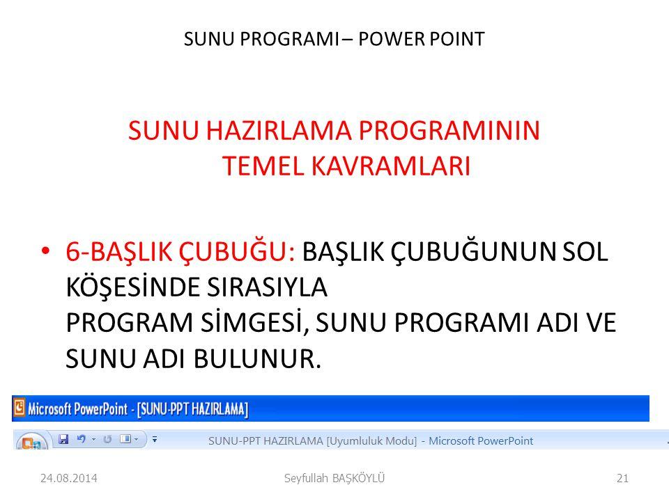 SUNU PROGRAMI – POWER POINT SUNU HAZIRLAMA PROGRAMININ TEMEL KAVRAMLARI 6-BAŞLIK ÇUBUĞU: BAŞLIK ÇUBUĞUNUN SOL KÖŞESİNDE SIRASIYLA PROGRAM SİMGESİ, SUN