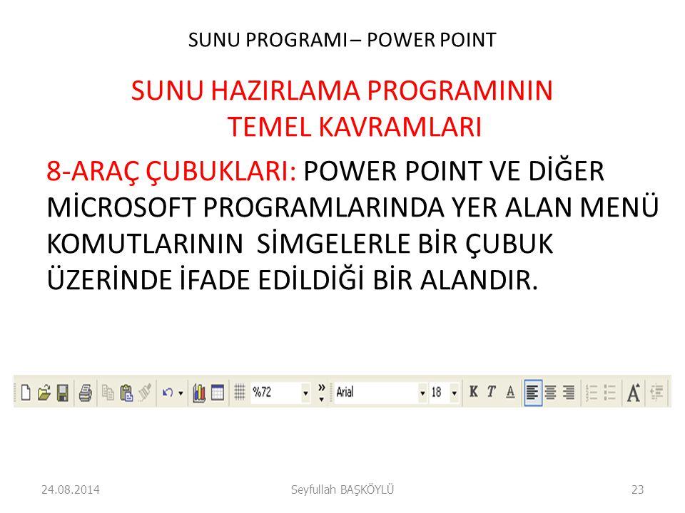 SUNU PROGRAMI – POWER POINT SUNU HAZIRLAMA PROGRAMININ TEMEL KAVRAMLARI 8-ARAÇ ÇUBUKLARI: POWER POINT VE DİĞER MİCROSOFT PROGRAMLARINDA YER ALAN MENÜ KOMUTLARININ SİMGELERLE BİR ÇUBUK ÜZERİNDE İFADE EDİLDİĞİ BİR ALANDIR.