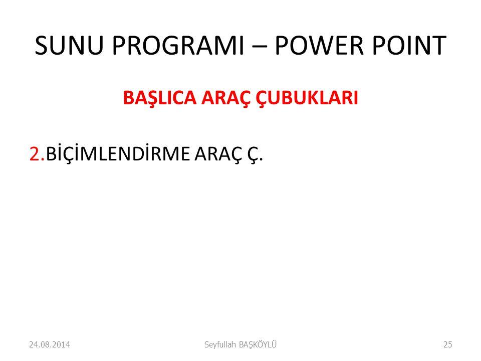 SUNU PROGRAMI – POWER POINT BAŞLICA ARAÇ ÇUBUKLARI 2.BİÇİMLENDİRME ARAÇ Ç. 24.08.2014Seyfullah BAŞKÖYLÜ25