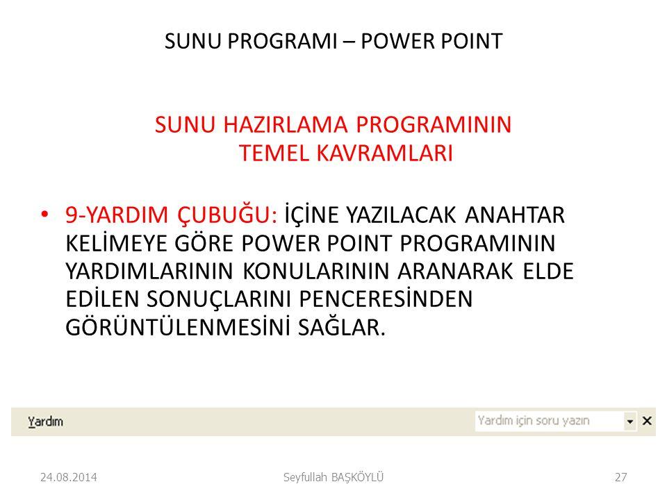 SUNU PROGRAMI – POWER POINT SUNU HAZIRLAMA PROGRAMININ TEMEL KAVRAMLARI 9-YARDIM ÇUBUĞU: İÇİNE YAZILACAK ANAHTAR KELİMEYE GÖRE POWER POINT PROGRAMININ