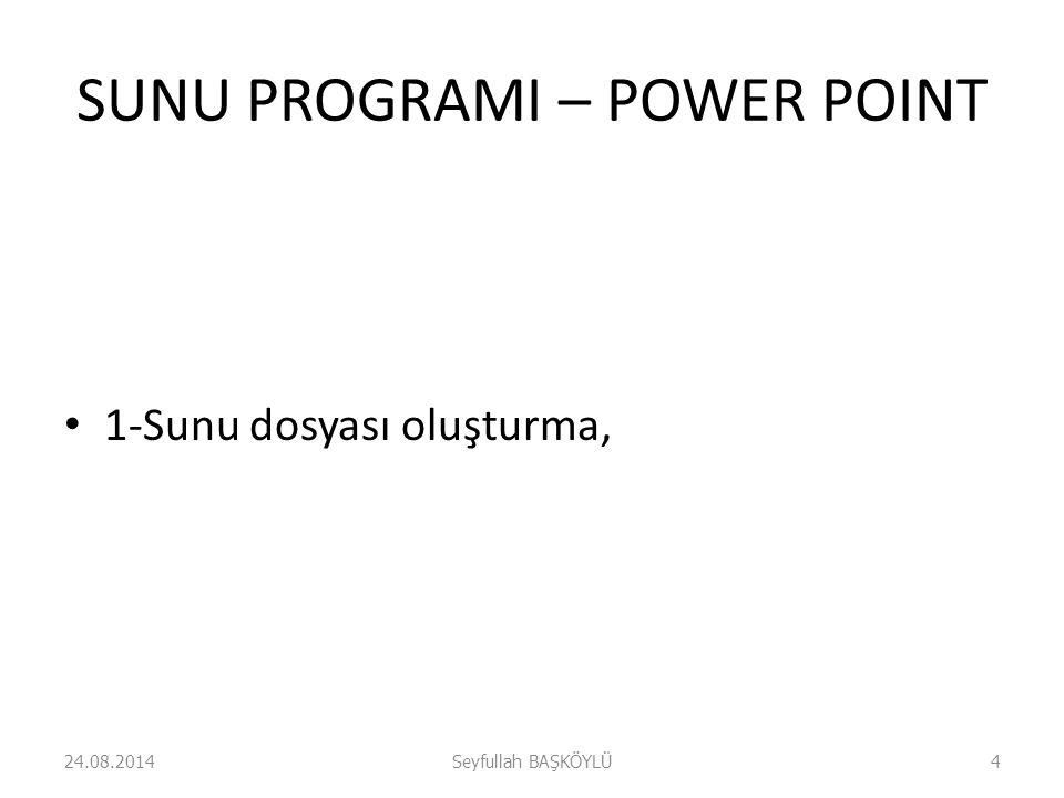 SUNU PROGRAMI – POWER POINT 2-Sunu biçimlemdirme, 24.08.2014Seyfullah BAŞKÖYLÜ5