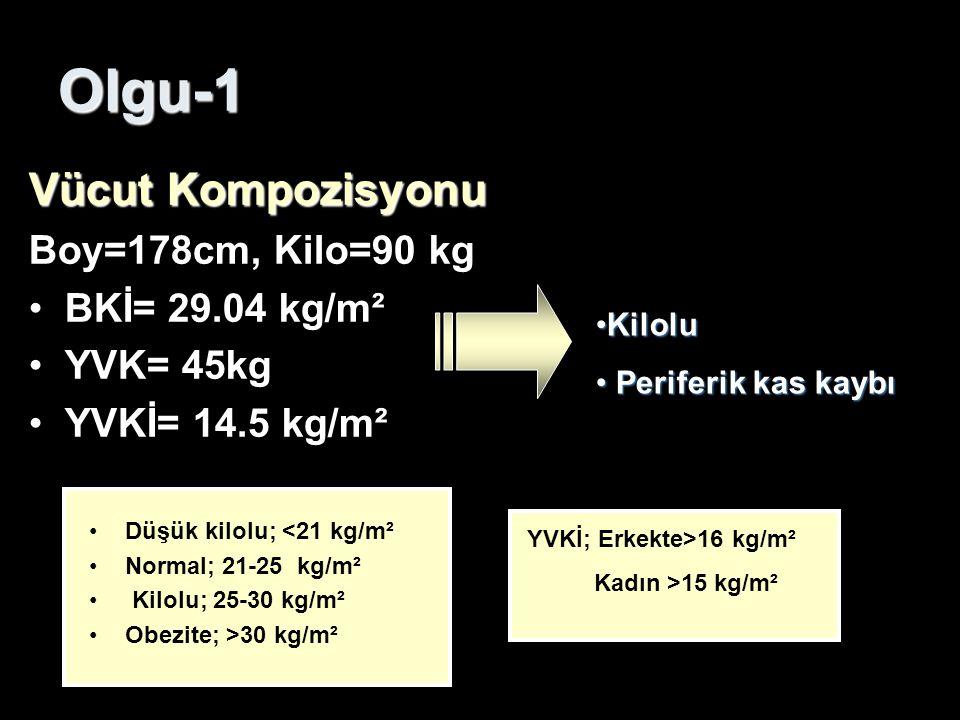 Olgu-1 Vücut Kompozisyonu Boy=178cm, Kilo=90 kg BKİ= 29.04 kg/m² YVK= 45kg YVKİ= 14.5 kg/m² Düşük kilolu; <21 kg/m² Normal; 21-25 kg/m² Kilolu; 25-30