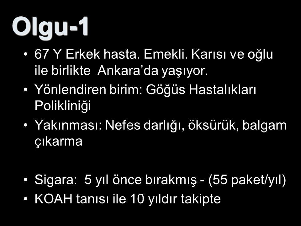 Olgu-1 67 Y Erkek hasta. Emekli. Karısı ve oğlu ile birlikte Ankara'da yaşıyor. Yönlendiren birim: Göğüs Hastalıkları Polikliniği Yakınması: Nefes dar