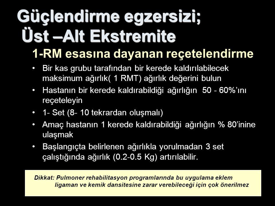 Güçlendirme egzersizi; Üst –Alt Ekstremite 1-RM esasına dayanan reçetelendirme Bir kas grubu tarafından bir kerede kaldırılabilecek maksimum ağırlık(