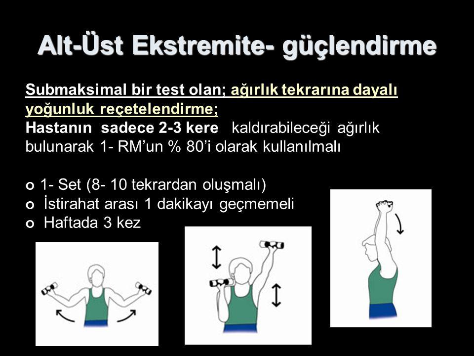 Alt-Üst Ekstremite- güçlendirme Submaksimal bir test olan; ağırlık tekrarına dayalı yoğunluk reçetelendirme; Hastanın sadece 2-3 kere kaldırabileceği