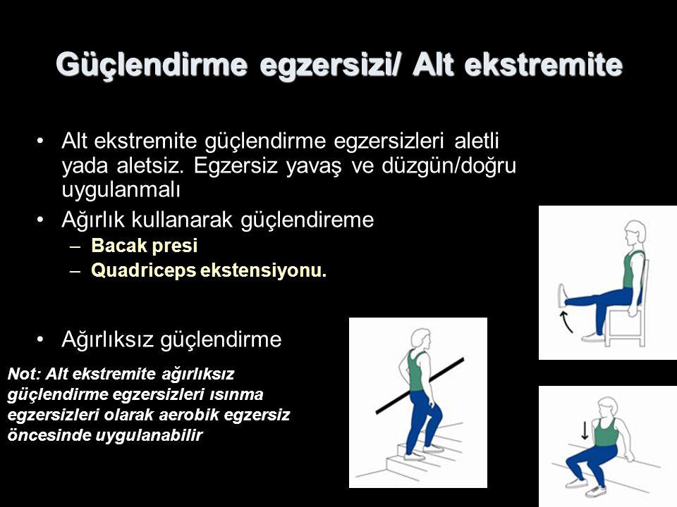 Güçlendirme egzersizi/ Alt ekstremite Alt ekstremite güçlendirme egzersizleri aletli yada aletsiz. Egzersiz yavaş ve düzgün/doğru uygulanmalı Ağırlık