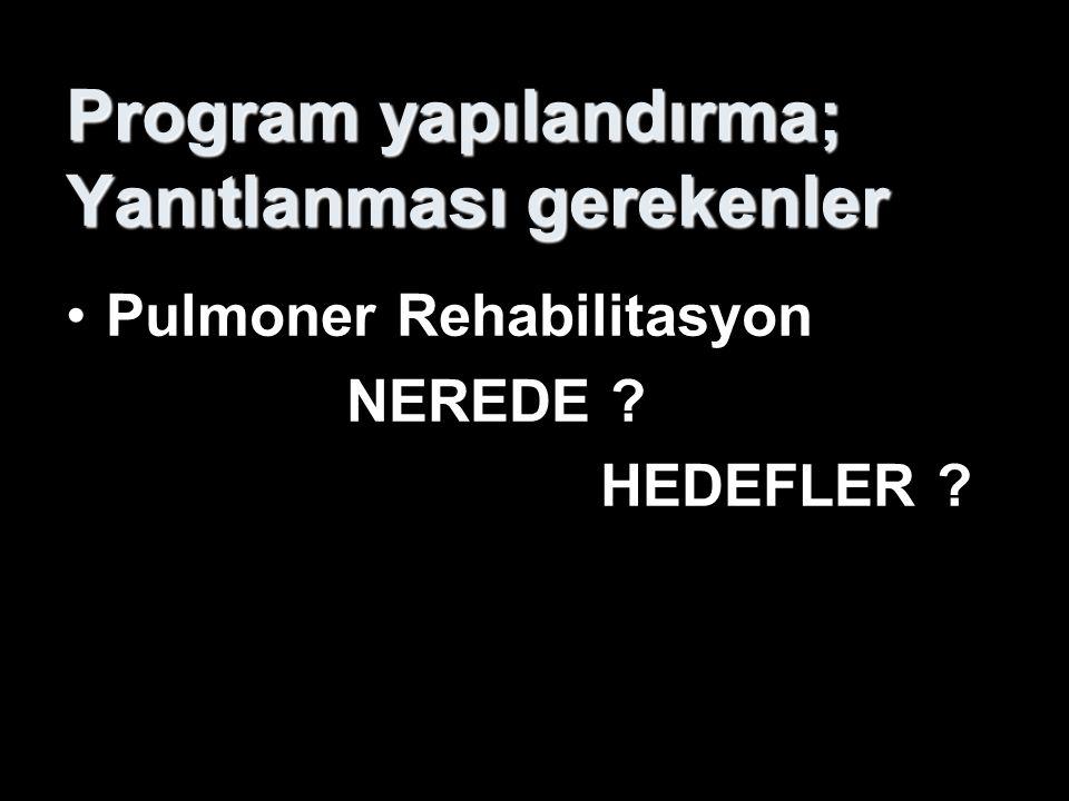 Program yapılandırma; Yanıtlanması gerekenler Pulmoner Rehabilitasyon NEREDE ? HEDEFLER ?  Ayaktan takipli PR ünitesine transferinde problem (+)  Ci