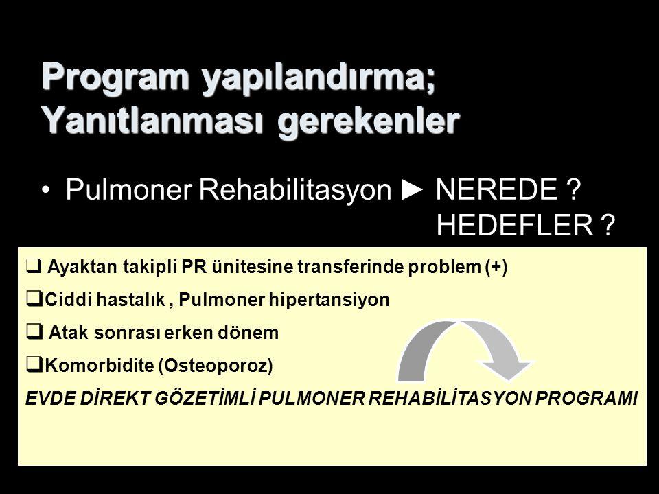 Program yapılandırma; Yanıtlanması gerekenler Pulmoner Rehabilitasyon ► NEREDE ? HEDEFLER ?  Ayaktan takipli PR ünitesine transferinde problem (+) 