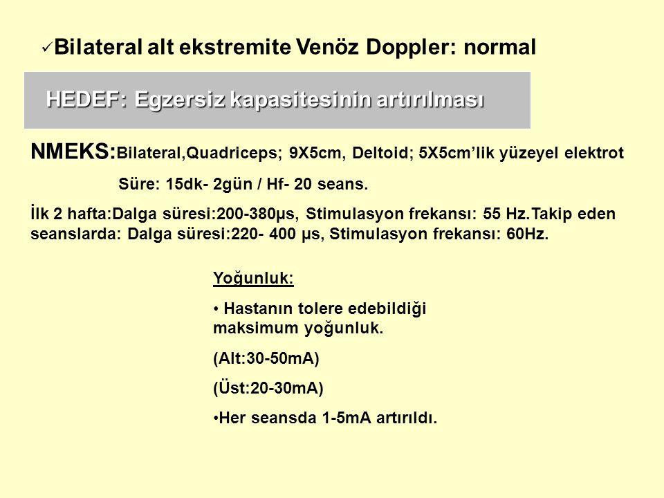 NMEKS: NMEKS: Bilateral,Quadriceps; 9X5cm, Deltoid; 5X5cm'lik yüzeyel elektrot Süre: 15dk- 2gün / Hf- 20 seans. İlk 2 hafta:Dalga süresi:200-380µs, St