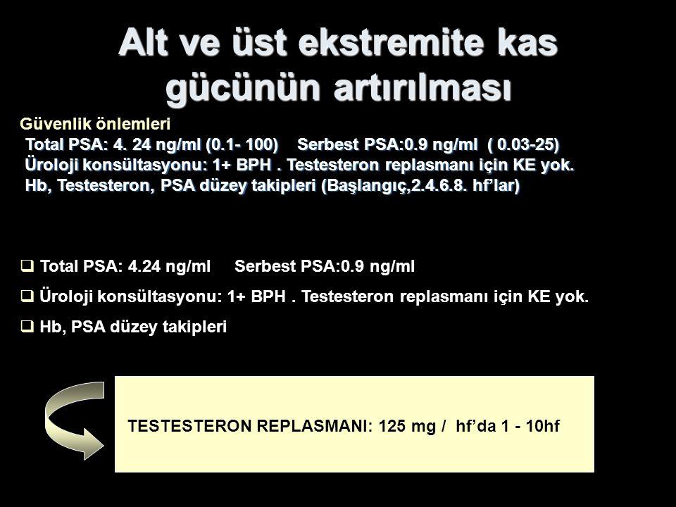 Güvenlik önlemleri Total PSA: 4. 24 ng/ml (0.1- 100) Serbest PSA:0.9 ng/ml ( 0.03-25) Üroloji konsültasyonu: 1+ BPH. Testesteron replasmanı için KE yo