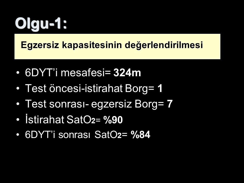 Olgu-1: 6DYT'i mesafesi= 324m Test öncesi-istirahat Borg= 1 Test sonrası- egzersiz Borg= 7 İstirahat SatO 2 = %90 6DYT'i sonrası SatO 2 = %84 Egzersiz