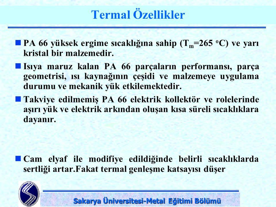 DPÜ-Simav Teknik Eğitim Fakültesi-KÜTAHYA Termal Özellikler PA 66 yüksek ergime sıcaklığına sahip (T m =265 o C) ve yarı kristal bir malzemedir. Isıya