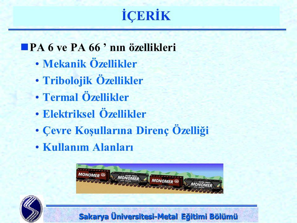 DPÜ-Simav Teknik Eğitim Fakültesi-KÜTAHYA İÇERİK PA 6 ve PA 66 ' nın özellikleri Mekanik Özellikler Tribolojik Özellikler Termal Özellikler Elektrikse