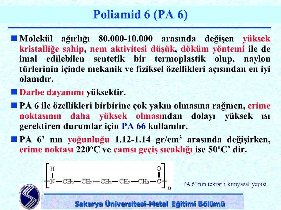 DPÜ-Simav Teknik Eğitim Fakültesi-KÜTAHYA Poliamid 6 (PA 6) Molekül ağırlığı 80.000-10.000 arasında değişen yüksek kristalliğe sahip, nem aktivitesi d