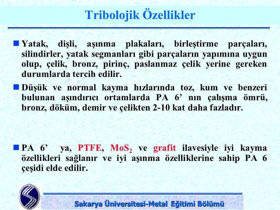 DPÜ-Simav Teknik Eğitim Fakültesi-KÜTAHYA Tribolojik Özellikler Yatak, dişli, aşınma plakaları, birleştirme parçaları, silindirler, yatak segmanları g