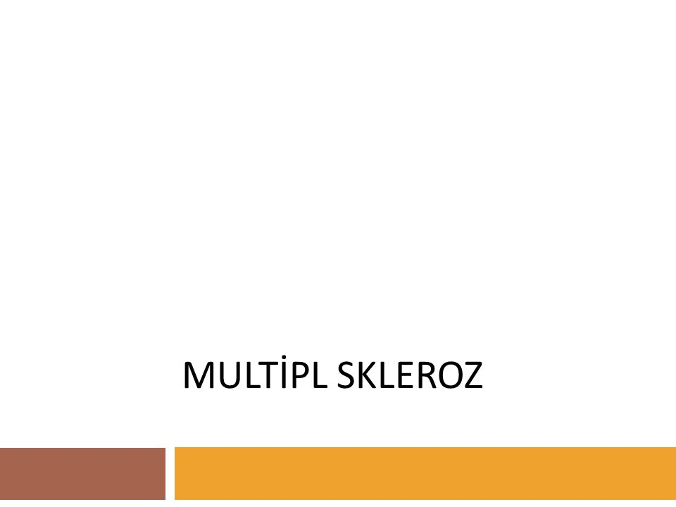 28.05.2002Multipl Skleroz- Malatya  Myelin sheaths destroyed  Oligodendrocytes survive  T cell and macrophage infiltrates  No IgC or complement deposition  Rapid and almost complete remyelination  T cell and macrophage activation  Plasma cells within lesions  Deposition of IgG and/or complement in regions of active myelin breakdown  Loss of oligodendrocytes, possibly by lysis  Rapid recruitment of progenitor cells expressing proteolipid protein (PLP) mRNA  Myelin sheath and oligodendrocytes exhibit signs of dystrophy  Infiltration of few T cells, Microglial activation  No IgG or complement deposition  Dysregulated myelin expression - selective loss of myelin-associated glycoprotein, selective overexpression of myelin oligodendrocyte glycoprotein - leading to apoptotic cell death  Axonal damage  Primary degeneration of oligodendrocytes in periplaque white matter  Lesions infiltrated by macrophages and T cells  Total loss of oligodendrocytes within lesions PATERN IV PATERN III PATERN II PATERN I