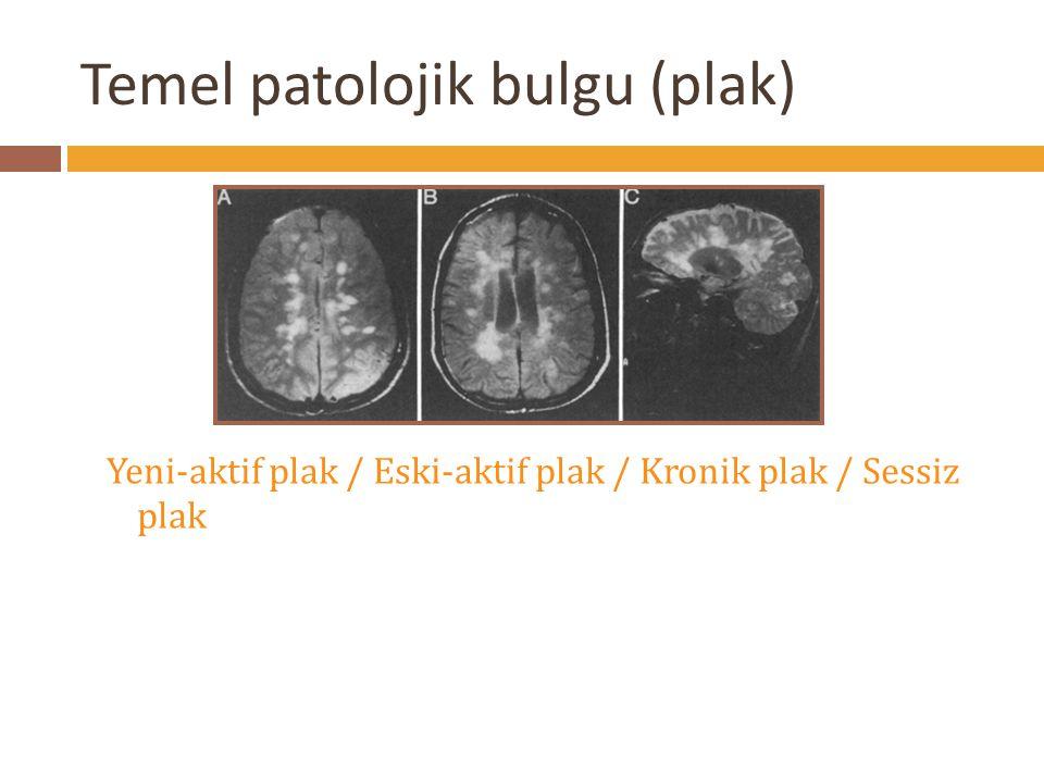 Temel patolojik bulgu (plak) Yeni-aktif plak / Eski-aktif plak / Kronik plak / Sessiz plak
