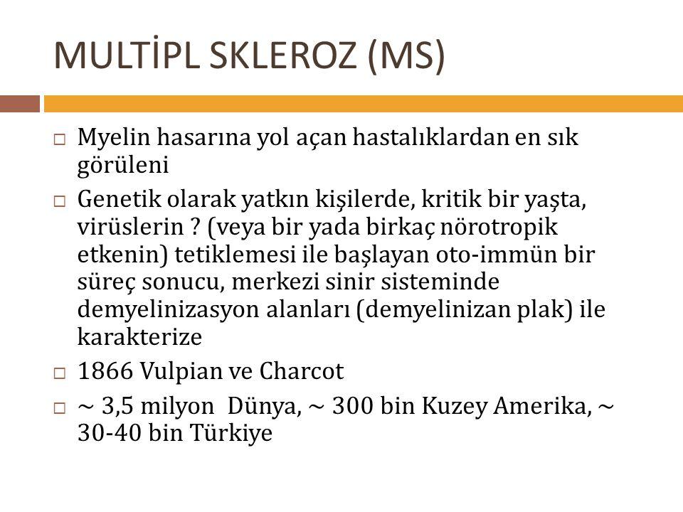 28.05.2002Multipl Skleroz- Malatya MS type PatternAcute (n) Relapsing Remitting (n) Secondary Progressive (n) Primary Progressive (n) Total (n) I61119 II2096439 III2011022 IV00033 Total46118873 *Luchinetti C ve ark.