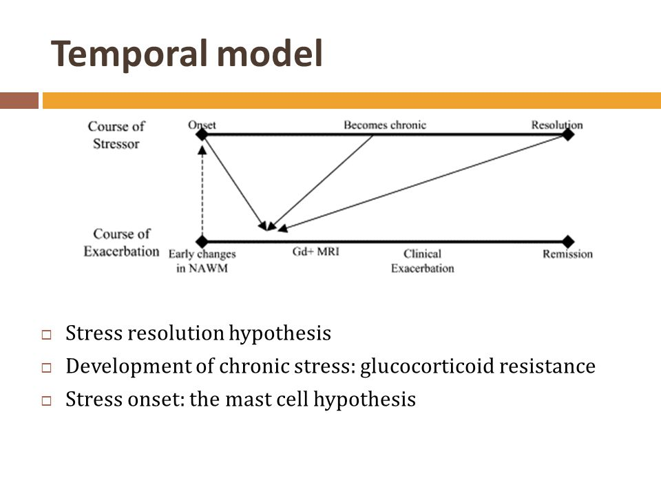 Temporal model  Stress resolution hypothesis  Development of chronic stress: glucocorticoid resistance  Stress onset: the mast cell hypothesis