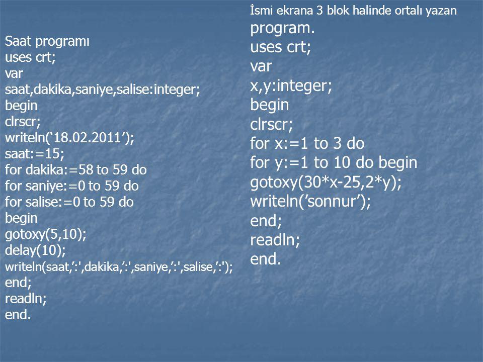 Saat programı uses crt; var saat,dakika,saniye,salise:integer; begin clrscr; writeln('18.02.2011′); saat:=15; for dakika:=58 to 59 do for saniye:=0 to