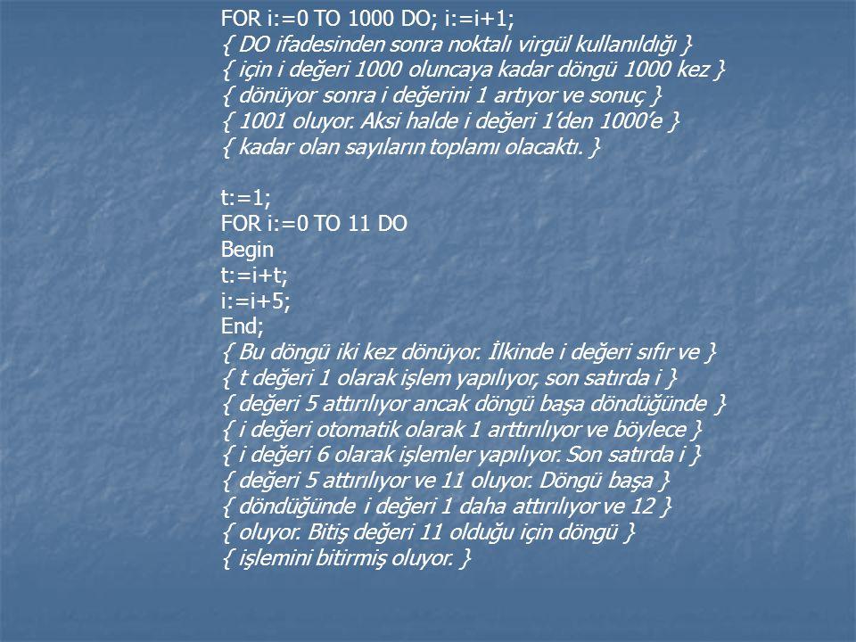 FOR i:=0 TO 1000 DO; i:=i+1; { DO ifadesinden sonra noktalı virgül kullanıldığı } { için i değeri 1000 oluncaya kadar döngü 1000 kez } { dönüyor sonra