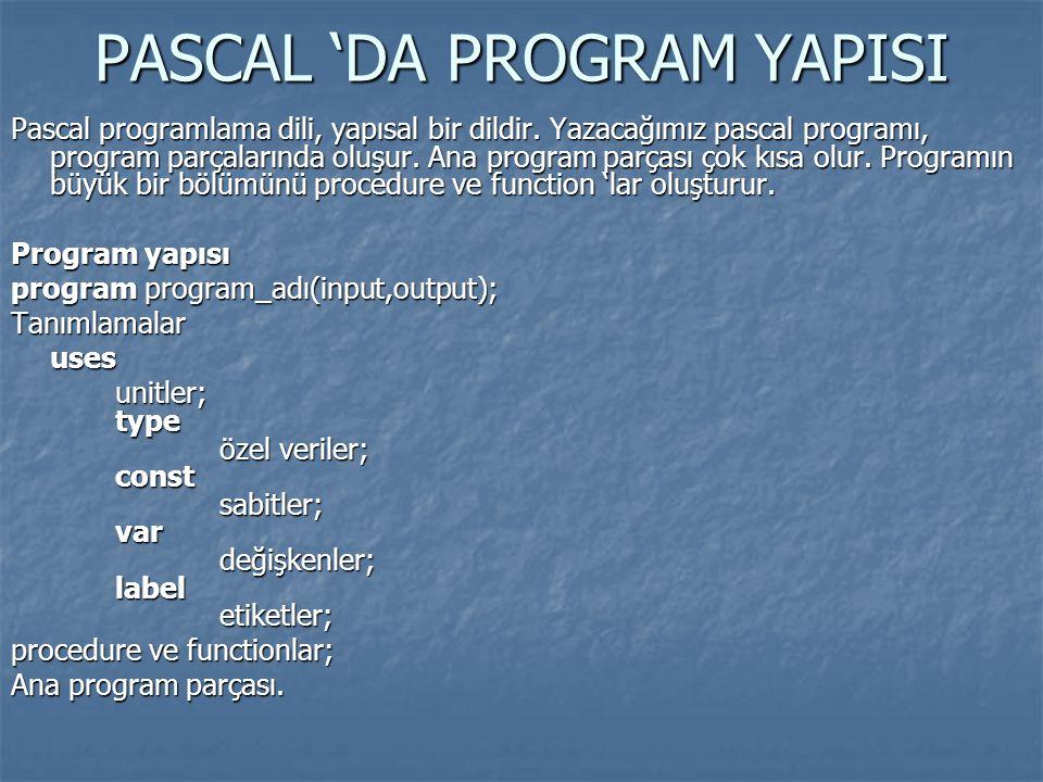 PASCAL 'DA PROGRAM YAPISI Pascal programlama dili, yapısal bir dildir. Yazacağımız pascal programı, program parçalarında oluşur. Ana program parçası ç