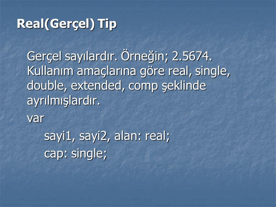 Real(Gerçel) Tip Gerçel sayılardır. Örneğin; 2.5674. Kullanım amaçlarına göre real, single, double, extended, comp şeklinde ayrılmışlardır. var sayi1,