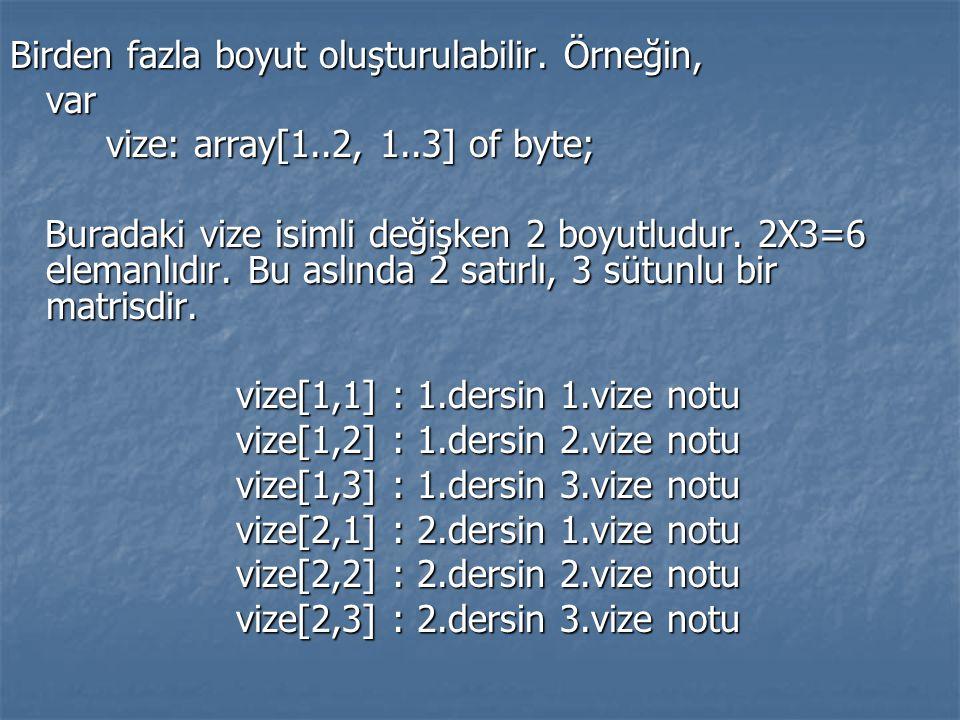 Birden fazla boyut oluşturulabilir. Örneğin, var vize: array[1..2, 1..3] of byte; Buradaki vize isimli değişken 2 boyutludur. 2X3=6 elemanlıdır. Bu as