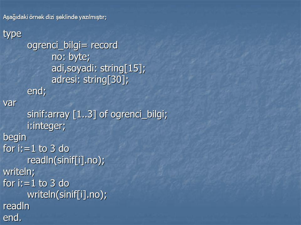 Aşağıdaki örnek dizi şeklinde yazılmıştır; type ogrenci_bilgi= record ogrenci_bilgi= record no: byte; no: byte; adi,soyadi: string[15]; adi,soyadi: st