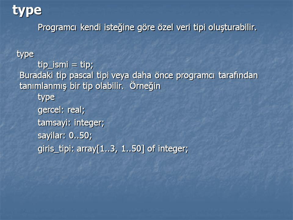 type Programcı kendi isteğine göre özel veri tipi oluşturabilir. type Programcı kendi isteğine göre özel veri tipi oluşturabilir. type tip_ismi = tip;