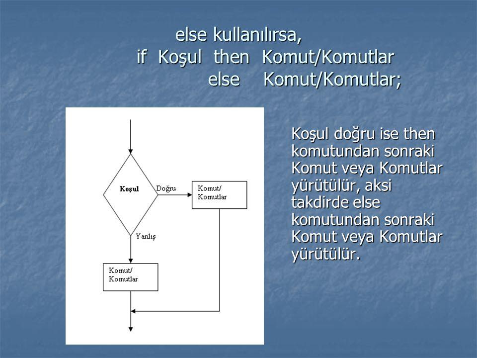 else kullanılırsa, if Koşul then Komut/Komutlar else Komut/Komutlar; Koşul doğru ise then komutundan sonraki Komut veya Komutlar yürütülür, aksi takdi